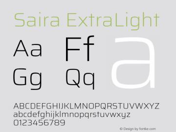Saira ExtraLight Version 1.100; ttfautohint (v1.8.3)图片样张