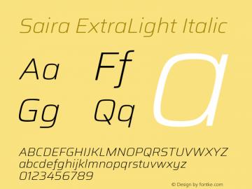 Saira ExtraLight Italic Version 1.100; ttfautohint (v1.8.3)图片样张