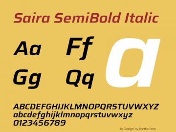 Saira SemiBold Italic Version 1.100; ttfautohint (v1.8.3)图片样张