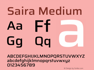 Saira Medium Version 1.100图片样张