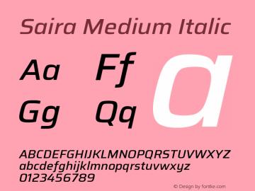 Saira Medium Italic Version 1.100; ttfautohint (v1.8.3)图片样张