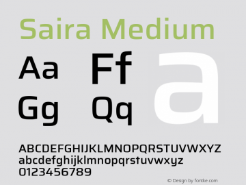 Saira Medium Version 1.100; ttfautohint (v1.8.3)图片样张