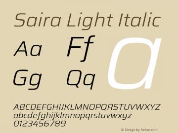 Saira Light Italic Version 1.100; ttfautohint (v1.8.3)图片样张