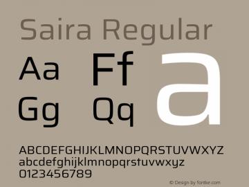Saira Regular Version 1.100; ttfautohint (v1.8.3)图片样张