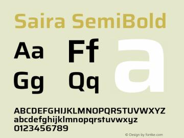 Saira SemiBold Version 1.100; ttfautohint (v1.8.3)图片样张