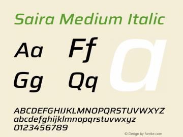 Saira Medium Italic Version 1.100图片样张