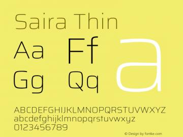 Saira Thin Version 1.100; ttfautohint (v1.8.3)图片样张
