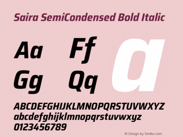 Saira SemiCondensed Bold Italic Version 1.100图片样张