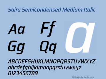 Saira SemiCondensed Medium Italic Version 1.100; ttfautohint (v1.8.3)图片样张