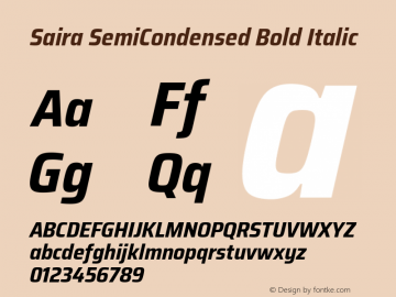Saira SemiCondensed Bold Italic Version 1.100; ttfautohint (v1.8.3)图片样张