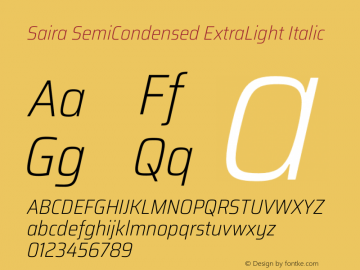 Saira SemiCondensed ExtraLight Italic Version 1.100图片样张