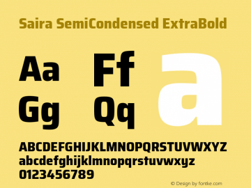 Saira SemiCondensed ExtraBold Version 1.100; ttfautohint (v1.8.3)图片样张
