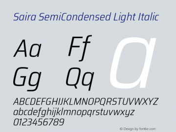 Saira SemiCondensed Light Italic Version 1.100; ttfautohint (v1.8.3)图片样张