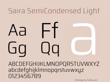 Saira SemiCondensed Light Version 1.100; ttfautohint (v1.8.3)图片样张