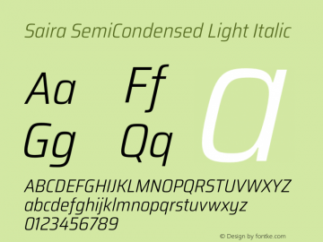 Saira SemiCondensed Light Italic Version 1.100图片样张