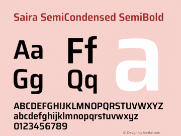 Saira SemiCondensed SemiBold Version 1.100图片样张