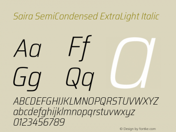 Saira SemiCondensed ExtraLight Italic Version 1.100; ttfautohint (v1.8.3)图片样张