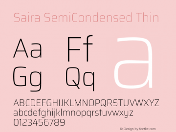 Saira SemiCondensed Thin Version 1.100; ttfautohint (v1.8.3)图片样张