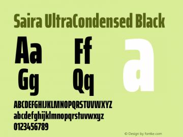 Saira UltraCondensed Black Version 1.100图片样张