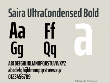 Saira UltraCondensed Bold Version 1.100图片样张