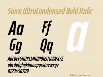 Saira UltraCondensed Bold Italic Version 1.100图片样张