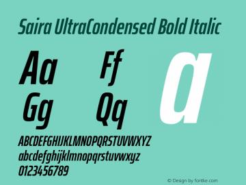 Saira UltraCondensed Bold Italic Version 1.100; ttfautohint (v1.8.3)图片样张