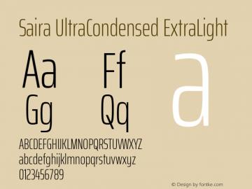 Saira UltraCondensed ExtraLight Version 1.100; ttfautohint (v1.8.3)图片样张