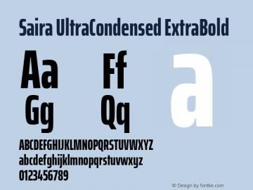 Saira UltraCondensed ExtraBold Version 1.100; ttfautohint (v1.8.3)图片样张