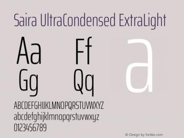 Saira UltraCondensed ExtraLight Version 1.100图片样张