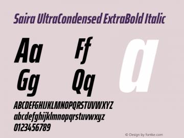 Saira UltraCondensed ExtraBold Italic Version 1.100; ttfautohint (v1.8.3)图片样张