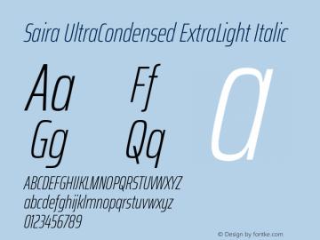 Saira UltraCondensed ExtraLight Italic Version 1.100; ttfautohint (v1.8.3)图片样张