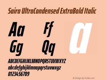 Saira UltraCondensed ExtraBold Italic Version 1.100图片样张