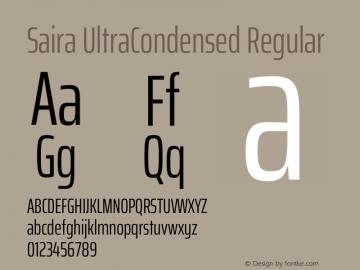 Saira UltraCondensed Regular Version 1.100图片样张