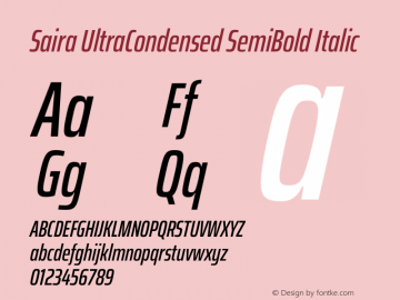 Saira UltraCondensed SemiBold Italic Version 1.100图片样张