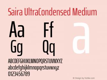 Saira UltraCondensed Medium Version 1.100; ttfautohint (v1.8.3)图片样张