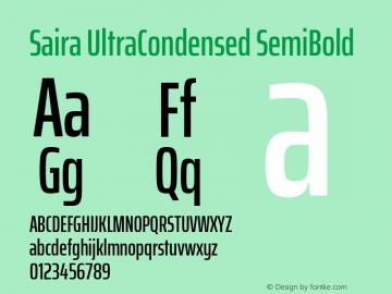 Saira UltraCondensed SemiBold Version 1.100; ttfautohint (v1.8.3)图片样张