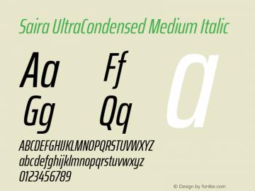 Saira UltraCondensed Medium Italic Version 1.100; ttfautohint (v1.8.3)图片样张