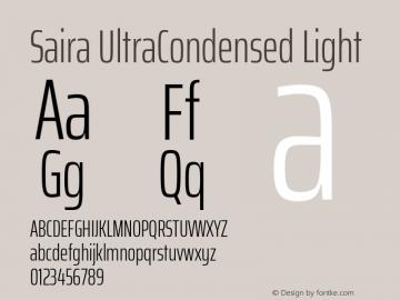 Saira UltraCondensed Light Version 1.100; ttfautohint (v1.8.3)图片样张