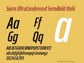 Saira UltraCondensed SemiBold Italic Version 1.100; ttfautohint (v1.8.3)图片样张