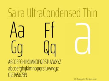 Saira UltraCondensed Thin Version 1.100图片样张