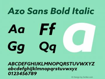 AzoSans-BoldItalic Version 1.000图片样张