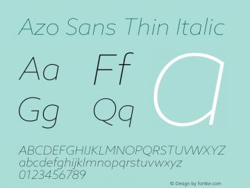 AzoSans-ThinItalic Version 1.000图片样张