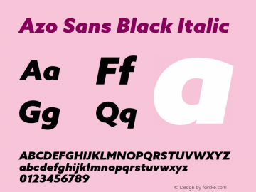 AzoSans-BlackItalic Version 1.000图片样张