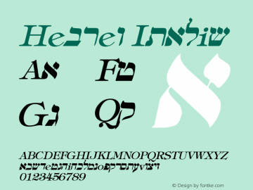 Hebrew Italic Altsys Metamorphosis:4/16/92 Font Sample