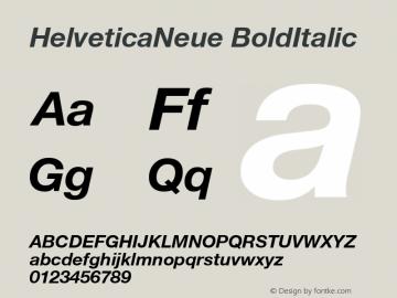 HelveticaNeue BoldItalic Macromedia Fontographer 4.1.5 8/19/02 Font Sample