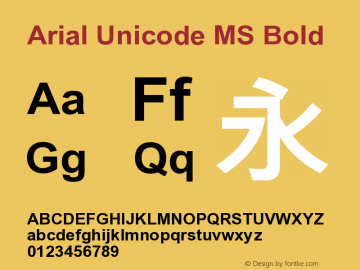 Arial Unicode MS Bold Version 1.00 Font Sample