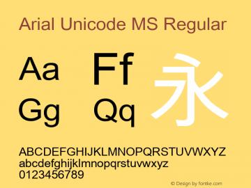 Arial Unicode MS Regular Version 0.84 Font Sample