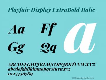 Playfair Display ExtraBold Italic Version 1.200; ttfautohint (v1.8.2)图片样张