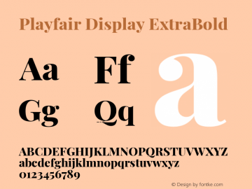 Playfair Display ExtraBold Version 1.200; ttfautohint (v1.8.2)图片样张