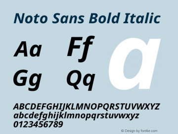 Noto Sans Bold Italic Version 2.004图片样张